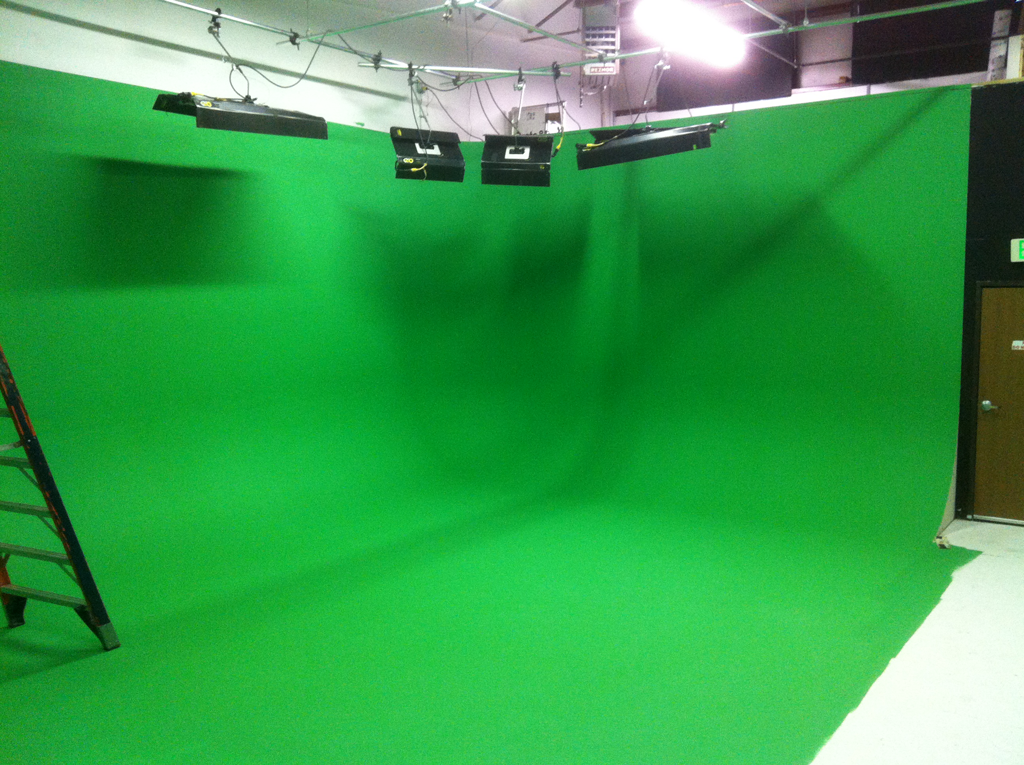 Greenscreen Cyclorama wall at Circuit Studios, Denver.